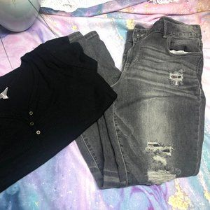 Maurices Gray Destructed Jeans